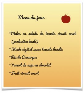 Menu repas alternatif éco-citoyen Sussargues